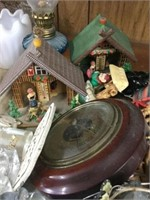 Tray of ornaments, barometer, etc.