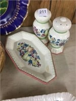 Group of serving plates, napkin holders, etc.