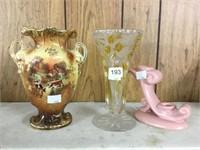 2 vases & candle holder