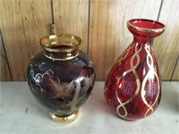 2 ruby vases