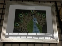 Framed peacock picture