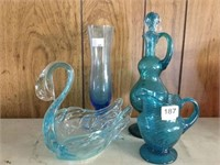 Cruet, pitcher, vase & swan dish