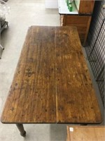 Antique harvest table with drawer