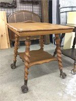 Oak lamp table with glass & claw feet