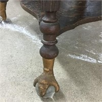 Antique lamp table with glass & claw feet