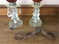Pair of cranberry table lamps