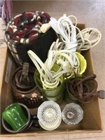 Box of extension cords, vases, etc.