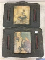 Pair of wood wall plaques