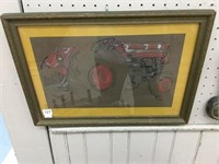 R. Halliday framed tractor painting