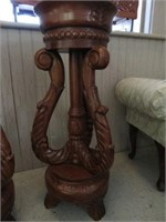 Pair of wood carved plant stands