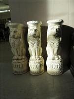 3 ceramic plant stands