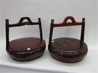 2 wood baskets with handles