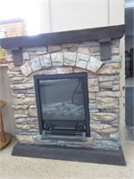 Ceramic electric fireplace unit