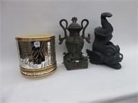 Ice bucket & 2 ornate ornaments