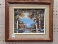 E. Brown framed oil painting