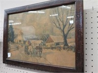 Antique framed winter print