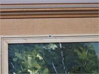 E. Brown framed oil painting &