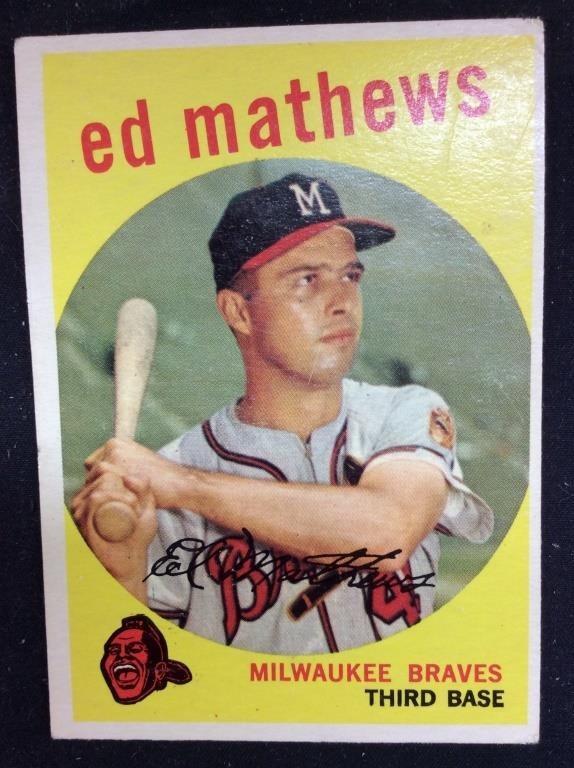 1959 Tcg 450 Ed Mathews Baseball Card Carolina Auction