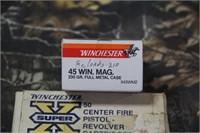 2 Partial Boxes .45 Winchester Magnum Ammunition