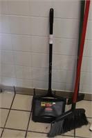 Commercial floor scraper, broom & upright dust