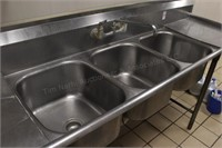 """90"""" commercial 3 tub stainless sink w/ sideboards"""