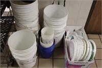 9pc+ 5 gallon Pails, Lids, smaller tubs