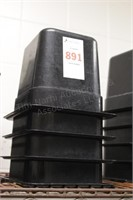 "4 pc 1/6th x 6"" black cold food tubs"