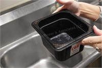 """8 pc 1/6th size 4"""" black cold food tubs"""