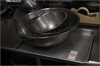 Baking sheet and stainless mixing bowls