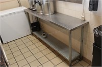 "72x16x34"" stainless table with shelf"