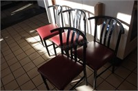 4 pc curved back metal upholstered chair
