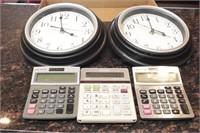 5 Calculators, 2 wall clocks, etc