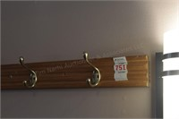 "Oak and Brass 72"" and 38"" coat wall hangers"
