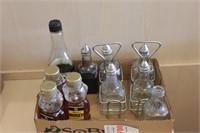 7 pc malt vinegar dispensers and honey dispensers