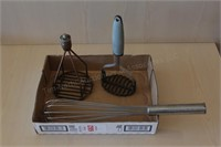 3 pc Mashers and Commercial Wisk