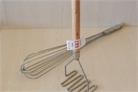 "5"" wide Potato Masher and 18"" Wisk"