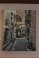 French Village Alleyway Oil on Canvas