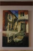 Italian Village Docks Oil on Canvas