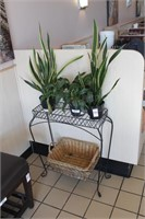 Plant Stand, Plants & Baskets
