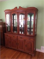 SOLID WOOD 2 PIECE LIGHTED CHINA CABINET