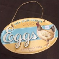 METAL SIGN - TRY OUR EGGS