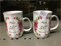 PAIR HAPPY 50TH ANNIVERSARY MUGS