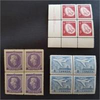 Vintage Mint Postage Blocks of 4