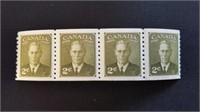 Mint Canadian King George VI 2 Cent Stamp Block (4