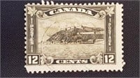 Early 20th Century Canadian 12 Cent Quebec Stamp