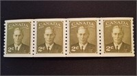 Mint Canadian King George VI 2 Cent Stamp Block /4