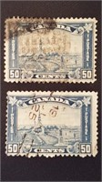 Cancelled Canadian 50 Cent 1930's Stamps (2)