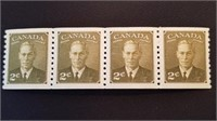 Mint Canadian King George VI 2 Cent Stamp Block /4
