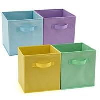EZOWare Set of 4 Foldable Fabric Basket Bin,