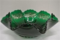 Silver Overlay Emerald Coloured Ruffled Bowl